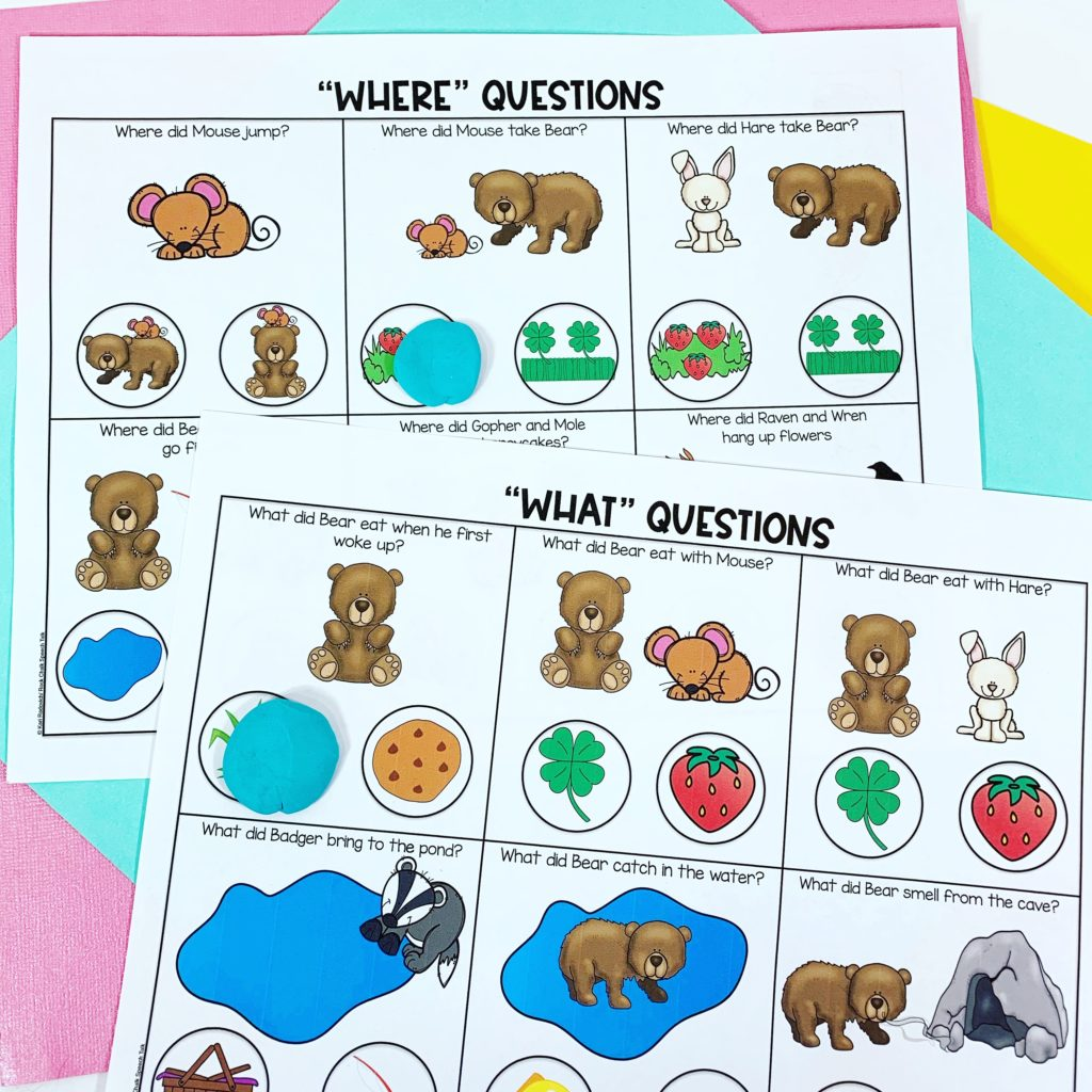Bear Wants More speech therapy WH questions
