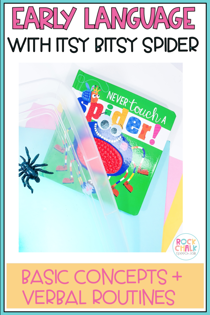 Early language activities for speech therapy with itsy bitsy spider theme: basic concepts and verbal routines